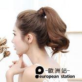 假髮/梨花馬尾女短倦髪蓬鬆自然逼真隱形無痕馬尾辮子魔術貼捆綁式「歐洲站」