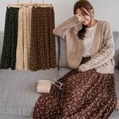 MIUSTAR 鬆緊腰細百褶花草雪紡裙(共3色)【NH2599】預購
