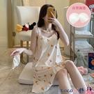 熱賣睡裙 吊帶睡裙女帶胸墊睡衣女士韓版夏季薄款寬鬆性感甜美純棉夏天睡衣 coco