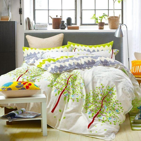 Pure One 清新樹影-雙人極致純棉四件式床包被套組