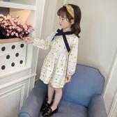 女童秋季碎花連身裙條紋公主裙可愛寶寶長裙