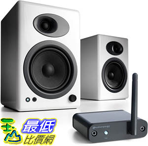 [9美國直購] 音箱 Audioengine A5+ Limited Edition Premium Desktop Speaker (White) B1 Bluetooth Music Receiver