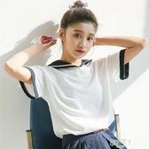 短袖T恤女新款學生正韓夏裝百搭海軍風體恤上衣潮甜美學院風好康免運