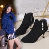 秋季新款馬丁靴女冬短靴女細跟高跟鞋韓版尖頭及裸靴加絨靴子