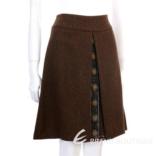 BLANCS MANTEAUX 咖啡色毛料花條飾及膝裙 0520356-07
