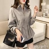 棉麻襯衫女長袖秋季2021新款輕熟氣質設計感小眾收腰襯衣打底上衣 夏季狂歡
