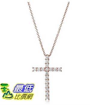 [美國直購] Platinum or Gold-Plated Sterling Silver Swarovski Zirconia Cross Pendant Necklace, 18 項鍊