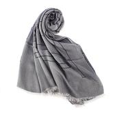 ARMANI Collezioni經典大字母LOGO流蘇披肩圍巾(灰紫色)102813-1