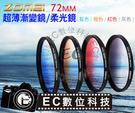 【EC數位】 ZOMEI 超薄鏡框 超薄漸變鏡 柔光鏡 柔焦鏡 72MM (漸變灰/藍/橙/紅)