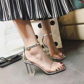 粗跟涼鞋女2018新款透明鞋跟水晶鞋高跟女鞋羅馬仙女的鞋復古夏季三角衣櫥