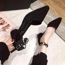 羅馬涼鞋女夏季新款包頭百搭學生仙女風粗跟尖頭一字扣高跟鞋 - 風尚3C