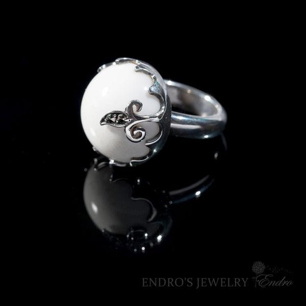 【Endro手作輕珠寶】幸福白瑪瑙戒指  925純銀