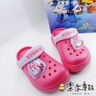 【樂樂童鞋】【台灣製現貨】POLI安寶閃燈布希鞋 P038 - 現貨 台灣製 女童鞋 涼鞋 男童鞋 小童鞋