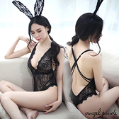 天使波堤【LD0060】蕾絲兔女郎交叉美背連身褲情趣比基尼角色扮演-高衩連體衣附兔耳透視裝