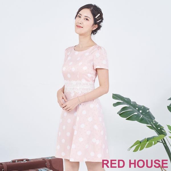 RED HOUSE-蕾赫斯-點點蕾絲洋裝(粉色)