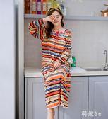 中大尺碼 秋冬季女士針織棉大碼長款條紋休閒公主睡裙睡衣家居服可外穿 js14262『科炫3C』