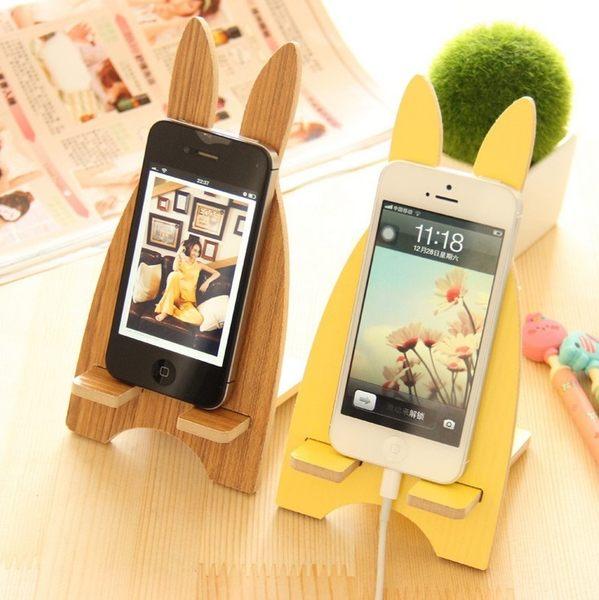 優惠快速出貨-買一送二!韓國創意木質懶人手機座蘋果6s卡通桌面通用手機支架