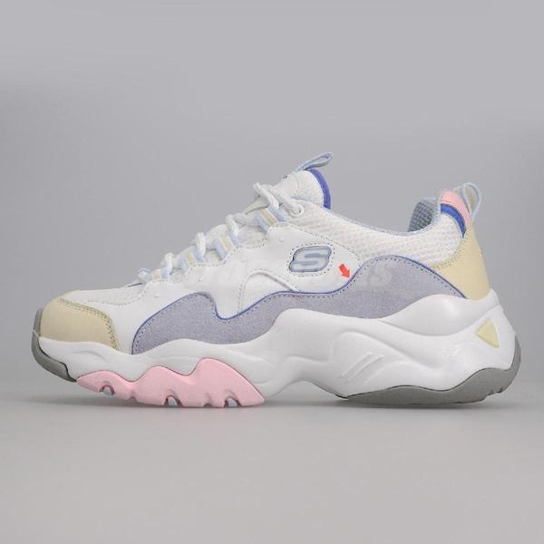【US7.5-NG出清】Skechers 休閒鞋 D Lites 3.0-Moon Visions 白 彩色 女鞋 二手使用痕跡 運動鞋 零碼【ACS】