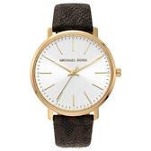 【台南 時代鐘錶 Michael Kors】MK2857 LOGO格紋皮革錶帶 大三針點鑽女錶 白 35mm MK女錶