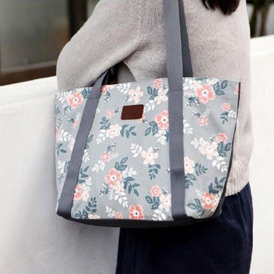 可愛印花肩背手提包 收納包 大容量 旅行袋 健身袋 多夾層 手提【X012】米菈生活館