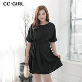 中大尺碼  純色側腰綁帶洋裝~共兩色 - 適XL~5L《 66225J 》CC-GIRL