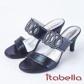 ★2018春夏新品★itabella.華麗水鑽高跟拖鞋(8315-55藍)