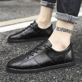 新款夏季男鞋韓版潮流透氣男士百搭休閒潮鞋英倫風黑色小皮鞋  韓流時裳