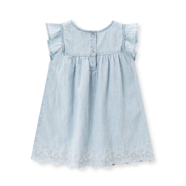 Gap女嬰兒 蕾絲鏤空牛仔小飛袖洋裝 442672-淺色水洗