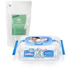 【奇買親子購物網】貝恩Baan NEW嬰兒保養柔濕巾80抽24入/箱+台塑生醫 嬰幼童奶瓶洗潔劑補充包