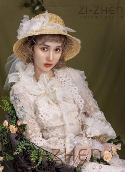 春夏新款ins同款婚禮新娘裝飾帽海邊度假遮陽防曬網紗草帽女
