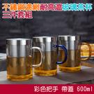 【501】不鏽鋼濾網耐高溫玻璃茶杯 三件套組 泡茶花茶 帶蓋 600ml (3色可選)