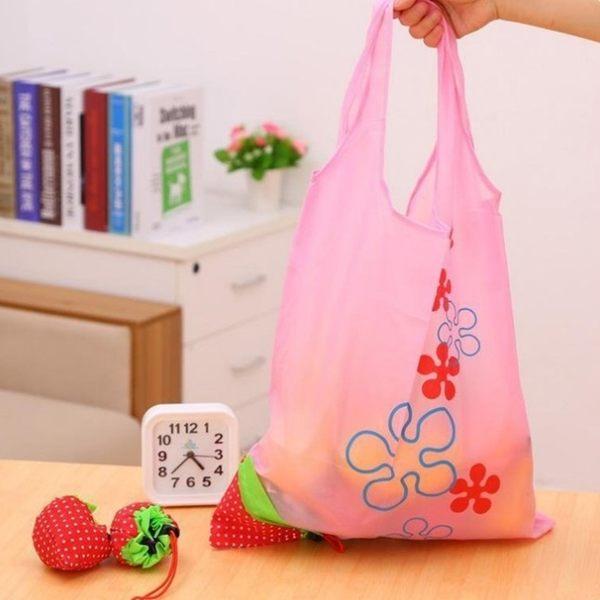 [拉拉百貨]草莓摺疊 收納購物袋 草莓袋 草莓環保袋 草莓折疊袋 購物袋 折疊收納袋 手提袋 束口袋