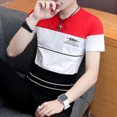 男士短袖t恤棉質V領打底衫修身半袖夏季男裝拼色體恤春天彩色衣服