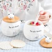 小清新卡通陶瓷杯子 日式貓咪學生馬克杯帶蓋 情侶早餐杯 小水杯