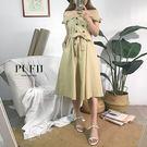 現貨 PUFII-兩穿式翻領排釦露肩一字領斜紋布長洋裝(附腰帶) 2色-0726 夏【ZP14991】