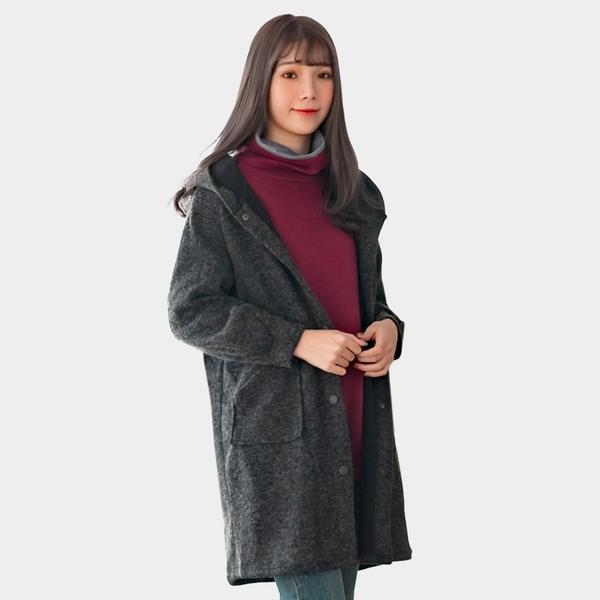長版外套--休閒舒適連帽寬鬆修身口袋素色保暖加絨針織外套(黑.紅2L-4L)-J273眼圈熊中大尺碼◎