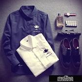 襯衫 男士長袖襯衫修身薄款白襯衫正韓春裝襯衣透氣寸衫學生上衣服潮流【全館免運】