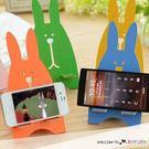 創意木質兔子造型手機座 懶人手機托架