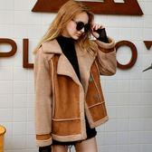 加絨加厚羊羔毛外套女新款冬季鹿皮絨大衣拼接短款 萬客居