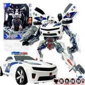 兒童禮物兒童變形玩具金剛大黃蜂汽車機器人模型手辦超大大型警車男孩LXY6624【黑色妹妹】