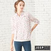【JEEP】女裝 碎花圖騰長袖襯衫(象牙白)