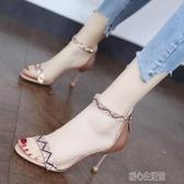 細跟涼鞋仙女風時尚水鑽一字帶涼鞋女年新款夏天潮氣質露趾細跟高跟鞋紓困振興
