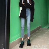 牛仔褲女秋季新款夏季高腰韓版修身顯瘦百搭緊身九分小腳褲子 中秋特惠