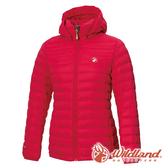 【wildland 荒野】女 收納枕拆帽極暖鵝絨外套『胭脂紅』0A72103 戶外 休閒 運動 冬季 保暖 禦寒