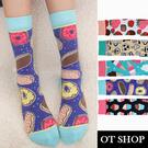 OT SHOP[現貨]襪子 中筒襪 運動襪 女款 精梳棉 可愛甜品圖案 草莓 杯子蛋糕 甜甜圈 冰淇淋 M1154