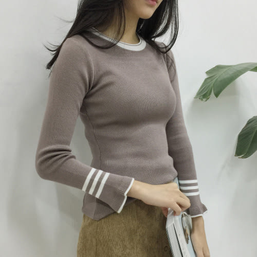 圓領T恤 優雅簡約配色修身顯瘦喇叭袖針織上衣 艾爾莎【TAE4507】