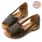 amai MIT台灣製造。古著雕花真皮鏤空魚口低跟涼鞋 黑
