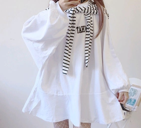 EASON SHOP(GU4117)條紋披肩圓領長袖T恤裙魚尾裙女連身裙素色洋裝韓版寬鬆燈籠袖荷葉邊蝙蝠袖飛鼠袖