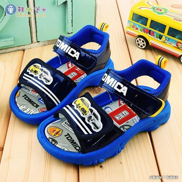 童鞋城堡-小汽車雙魔鬼氈涼鞋 Tomica多美汽車 TM3637-藍