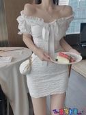 一字領連身裙 一字肩泡泡袖連身裙女夏季高腰顯瘦短袖白色短裙子氣質新款a字裙 寶貝 免運
